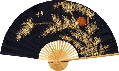 Medium 40' Folding Wall Fan -- Bamboo Moon -- Original Hand-painted
