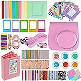 Zacro 14 Stück Polaroid Mini Set Sofortbildkamera mit Tasche/Kameragurt/Farbfilter/Zwei Alben/Selbstauslöser Objektiv/DREI Fotorahmen/Fotorahmenaufkleber/Eckaufkleber/Ölstift Pink