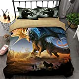 WONGS BEDDING 3D Printed Dragon Beding Set for Kids Children,Cartoon Wings Dragon Duvet Cover with 1 Pillowcase,Anti-Allergic Microfiber Comforter Cover Twin Size 68'x 86'(Not Comforter)
