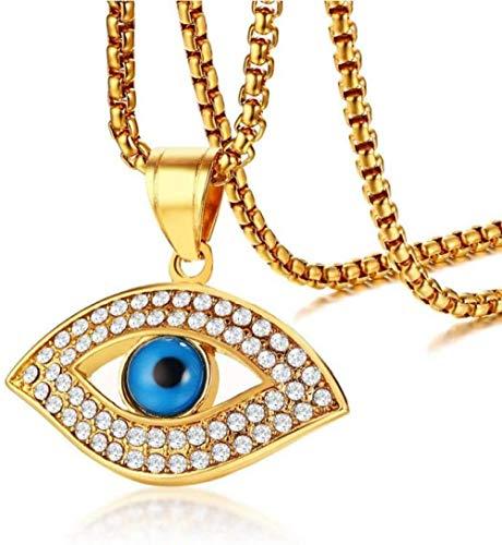 NC122 Collares Pendientes del Ojo Azul del Acero Inoxidable de la Piedra del Color del Oro de Moda para los Hombres