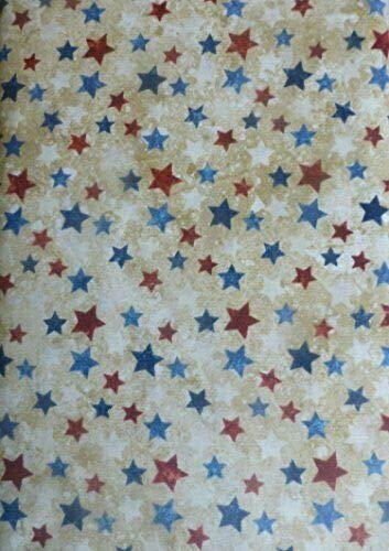 Northcott Land of the Free~Stars on Beige~20159-30 Cotton Quilt Fabric By The Yard