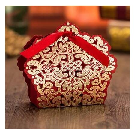 20x Rose Hollow Out Laser Cut Candy Wrap Bag w// Ribbon Wedding Favor Box Red