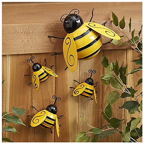 4Pcs Metal Bumble Bee Decorations, Country Decorative Metal Garden Accents, Wall Hanging Bumblebee Art Decoration, Lawn Ornaments Decor for Wall Decoration Bee Day Decor (4 Pcs)