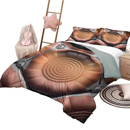3-teilige Bettwäsche-Sets Fraktale weiche Ganzjahres-Baumwollmischung Tagesdecke Mosaik-Stil Sechseckige Spiegelung Geometrische Form Kreatives Trippy-Muster-Design in voller Größe Blau Rot