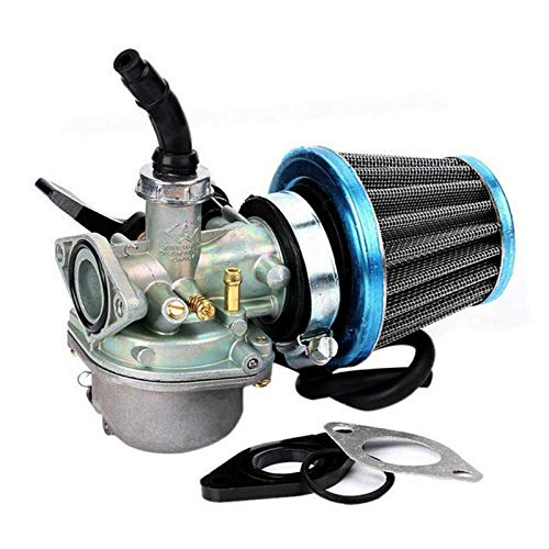 XWSQ PZ19 Handheld Carburetor Moto Motorcycle ATV Dirt Bike Carburadores con Filtro de Aire para 70cc 90cc 110cc 125cc Filtro de Aire Motocicleta (Color : Silver)