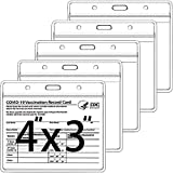 5 Pack-CDC Vaccine Card Protector 4 X 3 Inches Immunization Record Vaccination Cards Holder Clear Vinyl Plastic Sleeve 3 X 4 with Waterproof Type Resealable Zip (Card Holder Only)