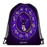 Mochila de Cuerdas Bolsa de Cuerda zodíaco capricornio horóscopo circulo símbolos sagrados noche estrellada cielo geometría 36X43CM