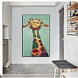 IHlXHPoster Abstrakte Tiere aufWandkunstFarbige Giraffe Kein Rahmen Leinwand Gemälde Für Kinderzimmer Dekoration Bild A3 60x90 Kein Rahmen