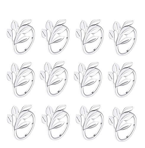 Gold Silber Serviettenringe, 6/12 Stück Metall Serviettenschnallen für Hochzeitsfeier Abendessen Jubiläum Tischdekoration(Silber,12 PCS)