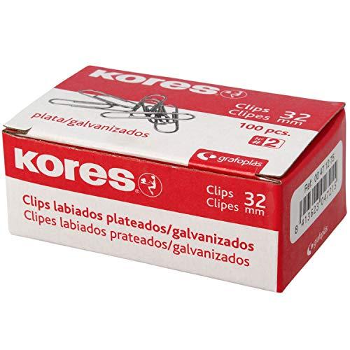 Kores 471275 Caja de Clips Galvanizados, Plateado, Nº 2 (32 mm)