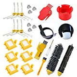 aotengou Rueda HEPA Fiters Kit para iRobot Roomba 700 Serie 760 770 780 790 Pincel de cerdas& Flexible Beater Cepillos &6-Armed 3-Armed Side Cepillod
