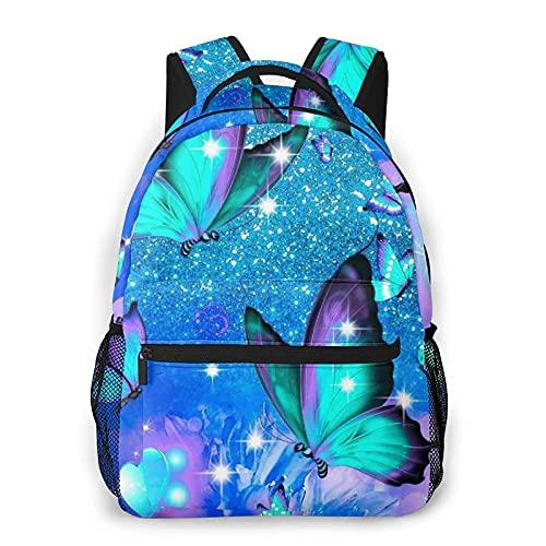 QQIAEJIA Mochila Purple Butterflies Durable Laptop Backpacks For Women Man Office Backpack Child Schoolbag Travel Bookbag Computer Bags Casual Shoulder Daypack For Boy Girl