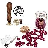 Set de sello para lacrar Mogoko, 1 sello de cera vintage para felicitación y 120 perlas en forma de estrella para cera con 1cuchara de fusión de cera y 2 velas Flower