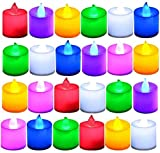 LUNSY 24 Packed Candle Lights Warm White Flameless LED Tea Lights Button Cell Powered Candle Lights for Decor Party