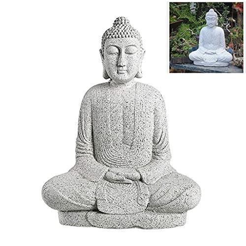 DIELUNY Adornos Zen de Buda Shakyamuni, estatuas de Buda de mármol de imitación, esculturas de Paisaje al Aire Libre en el Patio (Color: #A)
