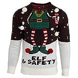 Brave Soul - Jersey navideño Modelo Elf & Safety para Hombre/Novedad (XL) (Carbón/Blanco)