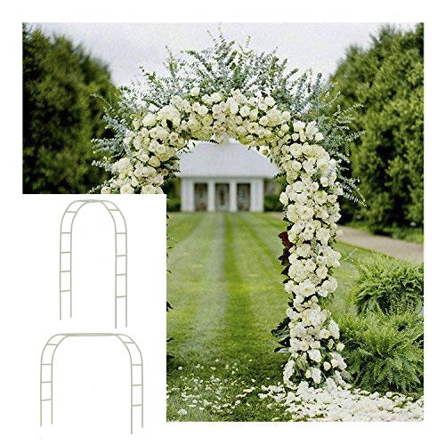 Adorox 7.5Ft 1 Set White Metal Arch Wedding Garden Climbing Plants Bridal Party Decoration Arbor