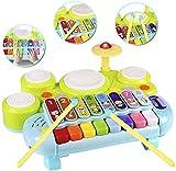 RSTJVB 3 En 1 Set De Tambor De Niño Piano Teclado Xylófono Juguetes De Instrumentos Musicales Aprendizaje De Aprendizaje De Desarrollo Iluminación para Niños para Niños Bebé Bebé