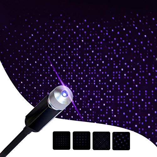 Romantic Star Projector Night Lights, Flexible Romantic Galaxy USB Night Lamp for Cars Ceiling Party Bedroom Portable USB Night Light Decoration Interior Ambient Atmosphere