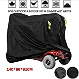 Waterproof Mobility Scooter Cover, Black Heavy Duty Waterproof Material Protect Your Wheelchair and Scooter from Rain, Hail Dust, Snow, Sleet and Sun