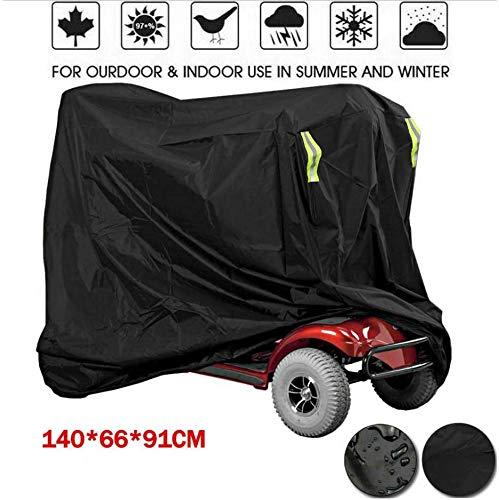 Tm-home Cubierta Impermeable para Scooter de Movilidad, Cubierta para Lluvia al Aire Libre, Material Resistente al Agua Negro Resistente Proteja su Silla de Ruedas y Scooter