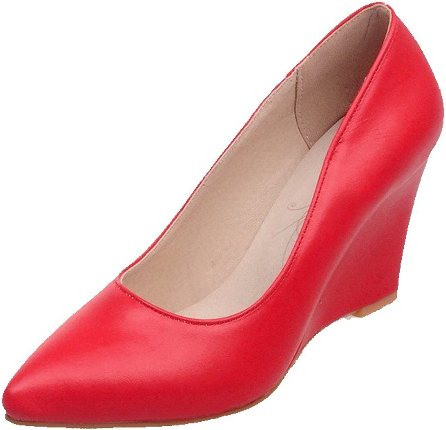 AmoonyFashion Women's Solid PU High-Heels Pointed Closed Toe Pull-on Pumps-shoes