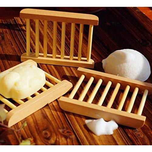 Aohua Pragmatische 3 STKS Handgemaakte Zeep Doos Natuurlijke Bamboe Houten Zeep Doos Milieuvriendelijke Zeep Houder Rekken voor Home Decoratie(Geen foto kleur)