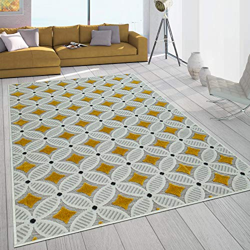 Paco Home Alfombra Interior Exterior Balcón Terraza Retro Tejido Tipo 3D En Amarillo Beige, tamaño:160x230 cm