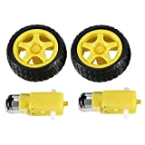 2 Sätze DC-Zahnrad-Motor und Reifen-Rad für DC 3V-6V Arduino intelligente Auto-Roboter-Projekte (Gelb)