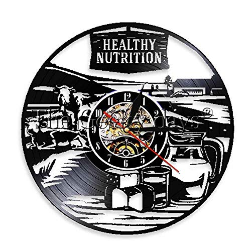 Reloj de pared de nutrición saludable de 30 cm Decoración de vida saludable Recetas de comestibles Reloj de vinilo grabado con láser Reloj decorativo Moda Música moderna Arte Relojes de pared de reg