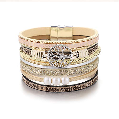 KSQS Bohemia Multilayer Wide Leather Cuff Handmade Wristbands Braided Magnetic Buckle Casual Bangle Bracelet for Women