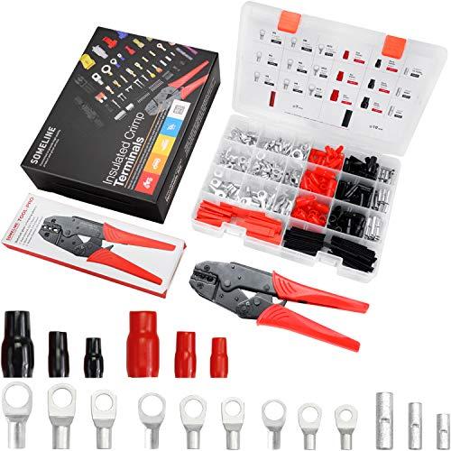 Juego de terminales de anillo para terminales de cable, terminales de crimpado para batería de coche, juego de terminales SC para 6-16 mm², SOMELINE 176 unidades