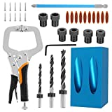 Welpettie 36pcs Pocket Hole Jig 15 Degree Pocket Screw Jig Kit with Right Angle Clamp Woodworking Angle Hole Fixing Device Dowel Jig Kit For Carpenters Angle Drilling Holes