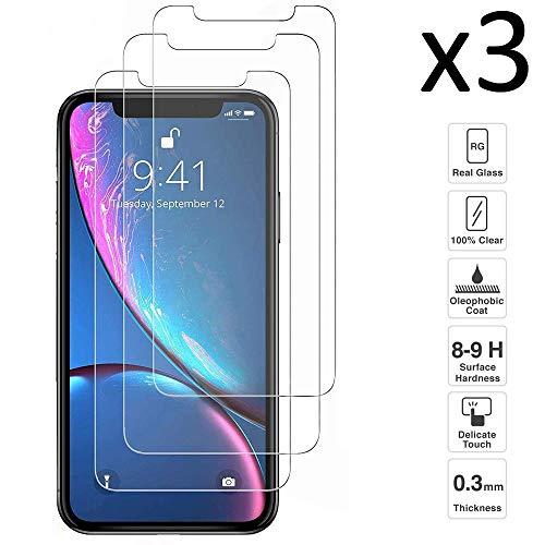 iGlobalmarket [Pack Ahorro - 3 Unidades] Protector de Pantalla iPhone XR 6.1, Vidrio Templado, sin Burbujas, Alta Definicion, 9H Dureza, Resistente a Arañazos