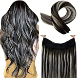 LaaVoo 14' Invisible Fish Line Remy Human Hair Extensions Fish Line Extension Balayage Ombre Off Black Fading to Gray Silver Natural Secret Hair 80g/Pack 10inch Width