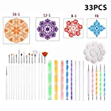 33 Piezas de Herramientas de Puntos Mandala para Pintar RoRock, Colorear, Dibujar y Dibujar Kits de Suministros de Arte, Incluidas Plantillas de Mandala y paletas de Pintura
