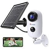Ctronics Caméra de Surveillance Batterie Rechargeable et Panneau Solaire Caméra IP 1080P WiFi Extérieure sans Fil Détecteur de...