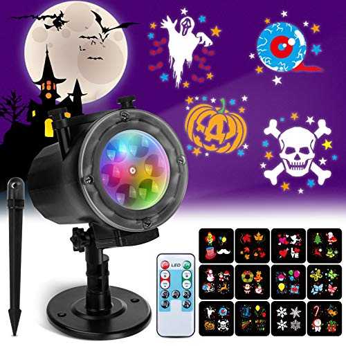 Christmas Projector Lights Elfeland Halloween Projector Lights with 12 HD Ocean Wave Patterns Christmas Projector Spotlights with Remote Control & Timing for Indoor & Outdoor Used