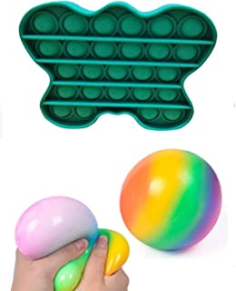 YEKKU 2 Piezas / Juego de Juguetes sensoriales, Bola antiestrés, Juguete sensorial Push Pop Bubble Fidget, Juguete Especia...