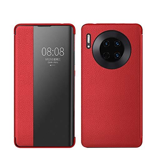 XYAL0002003 Xingyue Aile Hoezen & Hoezen Voor Huawei Mate 30, Echt Leer Flip Open Raam Automatische Slaap wakker Smart Cover Case Shell Compatibel met Huawei Mate 30 (Kleur : Rood)