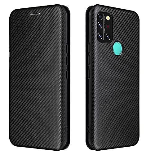 Funda con tapa para teléfono UMIDIGI A9 Pro, funda híbrida de fibra de carbono de lujo PU y TPU de protección completa a prueba de golpes Funda con tapa para UMIDIGI A9 Pro (color: negro)