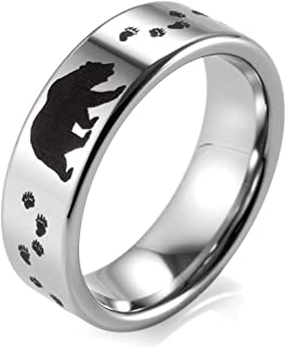 SHARDON Men's 8mm Polished Tungsten Ring with Engraved Bear and Tracks