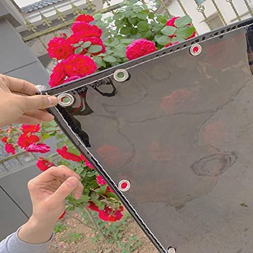 Lona Impermeable Transparente Negro con Ojales,Tela in PVC,Plegable,Toldo Vela de Sombra,Anticongelante Cobertizo de Jardín,para Balcón,Patio,Exteriores,Personalizable,500g/? (0.5x0.8m)