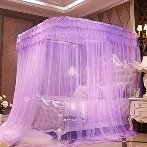 Klamboe met 4 hoeken, geen geperforeerd bed, baldakijn, gordijnen, gerechten, prinses, stijl, gordijn, telescoop, type roestvrijstalen buisondersteuning.