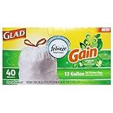 Glad Gain 13 gal. Trash Bags Drawstring 40 pk
