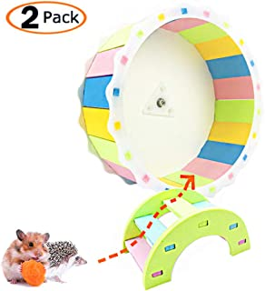 MUMAX Hamster Wheel Toy, Silent Spinner Wooden Wheel Easy Attach to Wire Cage Funny Exercise Toys with Free Rainbow Bridge for Syrian Hamsters Rats Small Animals Gerbil Hedgehog Chinchilla Guinea Pig
