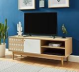 BAÏTA Leika Meuble TV, Chêne et Blanc, 120cm