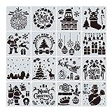 16pcs Diario Stencil Set Navidad Dibujo Pintura Plantillas Plantilla para Cuaderno en Relieve Diario Tarjeta de Papel Scrapbooking