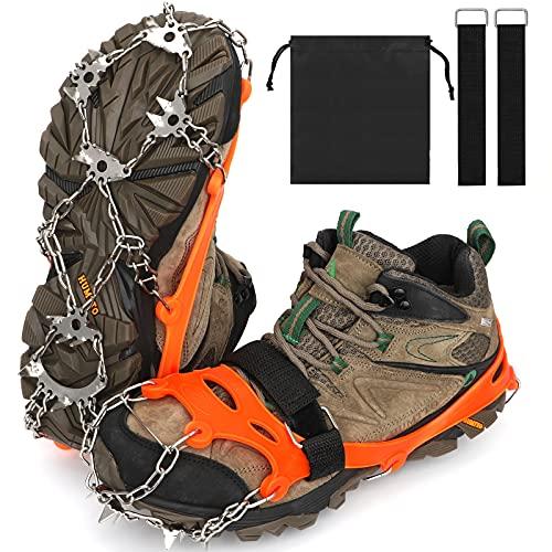 KAMEUN Crampones Nieve, Crampones Hielo con 23 Dientes, Crampones Antideslizantes Hielo,Tacos de tracción Nieve para Invierno Deportes Montañismo Escalada Caminar Alpinismo Trail Running