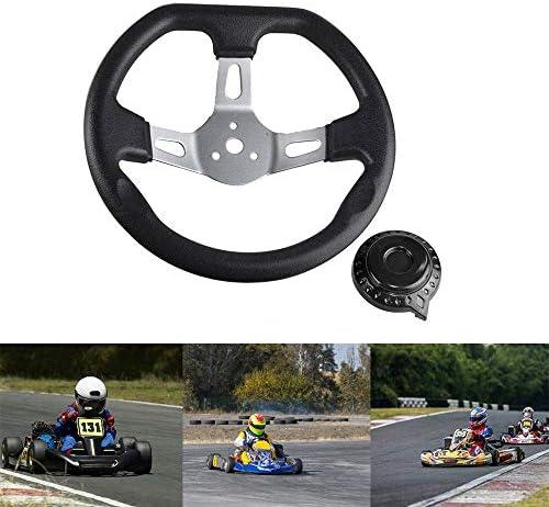 FLYPIG Butterfly H Style Steering Wheel Metal Sport Kart Racing Go Kart Cart Riding Lawn Mower Racing